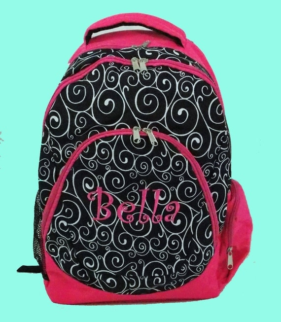 Personalized Large Backpack In Black and White Print With Hot Pink Trim-Monogramming Included