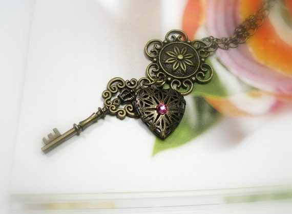 Pink Heart Locket and Key Vintage Style Pendant Necklace, Heart and Key Necklace, Locket, Pink Heart, Victorian Style Jewelry, Gifts For Her