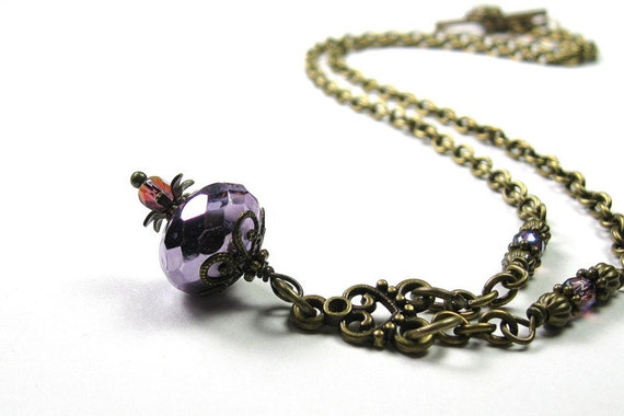 Vintage Style Necklace, Rhapsody, Violet, Czech Glass, Purple, Amethyst, Victorian Style, Romantic Jewelry, Gifts for Her, Antiqued Brass