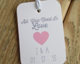 All You Need Is Love Wedding Favor Tags Heart
