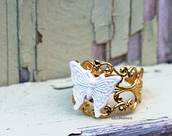 White Butterfly Ring, Adjustable Gold Tone Finished Brass Filigree Ring
