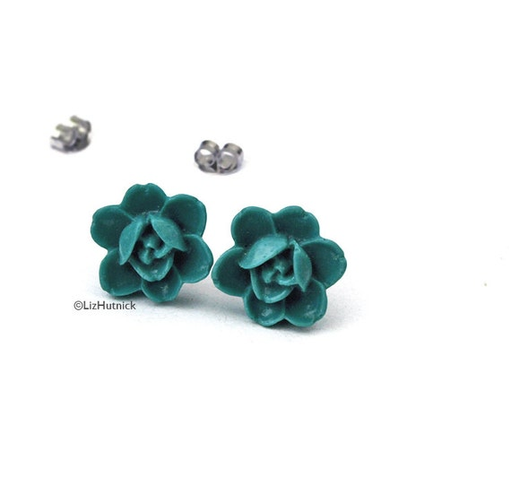 Teal Rose Posts. Teal Flower Stud Earrings. Carved Look Flowers