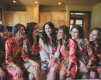 Large Floral Bridesmaids Robes Sets Kimono Crossover Robe Wrap bridesmaids gifts, getting ready robes, Bridal shower favors, wedding pics