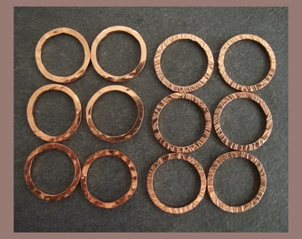 Pure Copper small jumprings x 4  - choose your finish -  handmade  findings