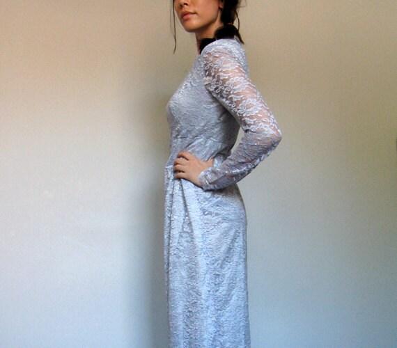Vintage Lace Maxi Dress Silver Blue Long Sleeve Wedding Formal Party - Medium M