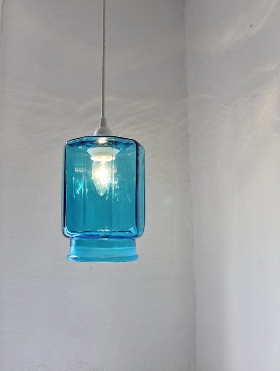 Ocean Sapphire Blue Kitchen Canister Pendant Light Upcycled