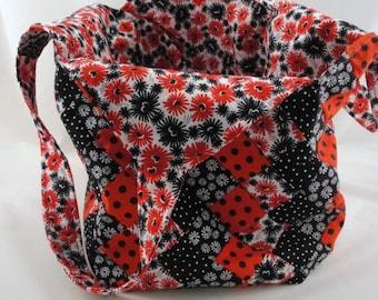 Large handmade patchwork tote bag mondo red black