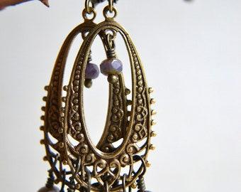 Boho Wire Wrapped Earrings in Plum