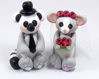 Wedding Cake Topper, Lemur, Bush Baby, Bride and Groom, Personalized Cake Topper