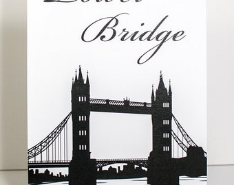 London Silhouette Table Number Cards