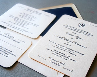Custom Letterpress Wedding Invitations - Classic Navy