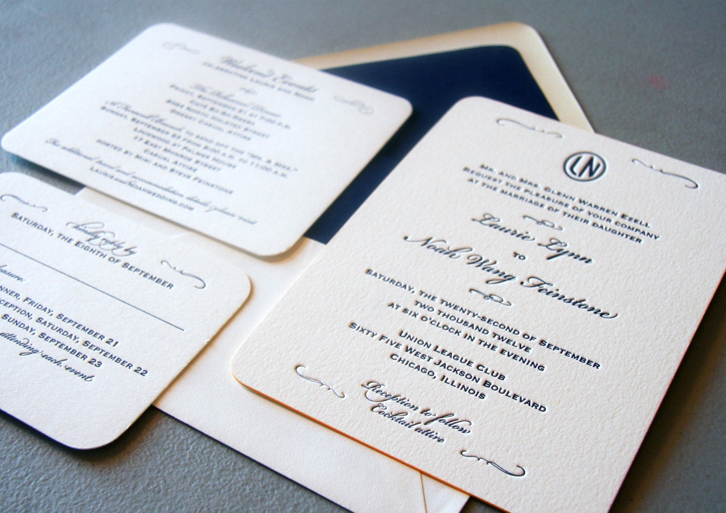 Wedding Invites Letterpress: Custom Letterpress Wedding Invitations Classic Navy