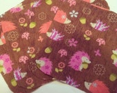 Hedgehogs - Set of 4 wipes - flannel and OBV - SOFT - 8x8 size