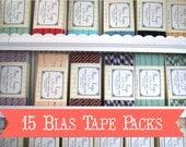 15 Pack Bias Tape Sampler- Wholesale Bias Tape