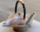 Ceramic PILLOW TEAPOT.  Signature Stoneware Teapot. Blue - Beige Ceramic Teapot. Sculptural Teapot. Hand Built Ceramics. Hand Built Pottery