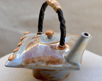 Ceramic Teapot. PILLOW TEAPOT.  Signature Stoneware Teapot. Blue - Beige Sculptural Teapot. Hand Built Ceramics. Handmade Pottery