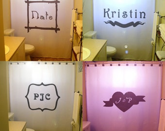 Personalized Shower Curtain Monogrammed with Your Choice of Initials or Names Custom Size Color monogram bathroom decor kids bath