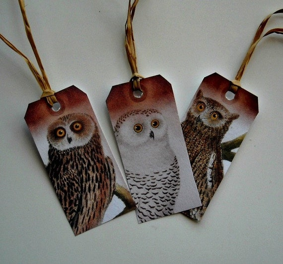 Owl TAGS- SET of THREE- Give them and Use them
