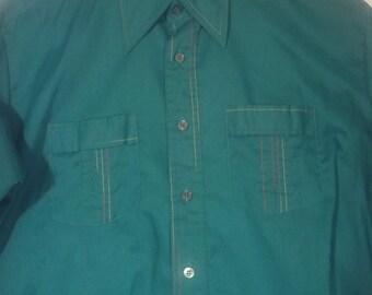 men green aqua shirt 70s 80s dress shirt grunge L 44 46 multi colored contrast stitching
