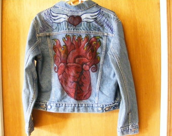 Angel Wing Heart Denim Jacket L Women's Levi