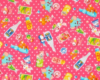 CLEARANCE, Japanese, Animal Drinks with Polka Dots on Pink, 1/2 Yard