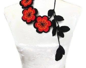 Crochet Jewelry, Necklace black, red, orange, Cranberry