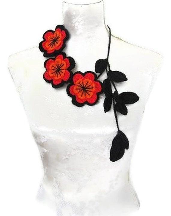 Crochet Jewelry, Necklace black, red, orange, Cranberry