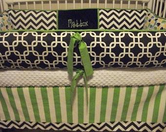 WHales Modern Chevron Boys Lime Navy Custom Baby Bumper Pad Crib Set DEPOSIT