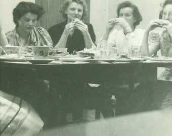Ladies Who Lunch Women Eating Sandwiches Gathered Around A Table 1940s Vintage Photo Black and White Photograph