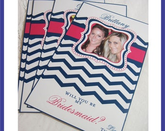 Modern Chevron Wine Label Bridal Party Gifts - Custom Bridesmaid Photo Wine Labels