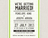 Dotted - modern typographic wedding invitation with dotted pattern
