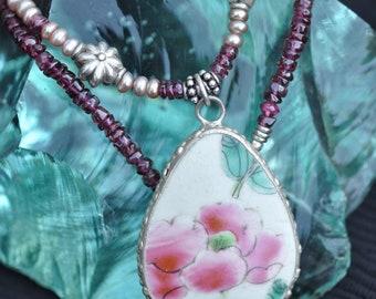 Pink Peony - Rhodolite Garnet, Old China Shard & Sterling Silver Necklace