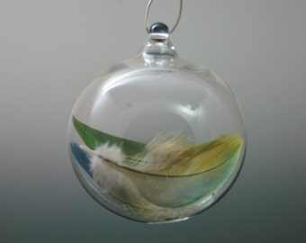 Mother's Gift - Handblown Glass Feather Ornament - Lampwork Blown Glass Ball- Thank you Gift