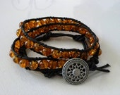 Wrap Bracelet Amber Yellow Glass Beads Black Cotton Faux Leather Stylish Trendy Jewelry, Free Shipping