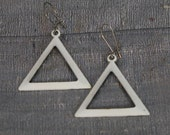 Vintage 1960's White Enamel Triangle Earring