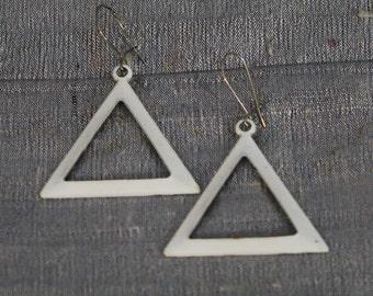 Vintage 1960's White Enamel Triangle Earring