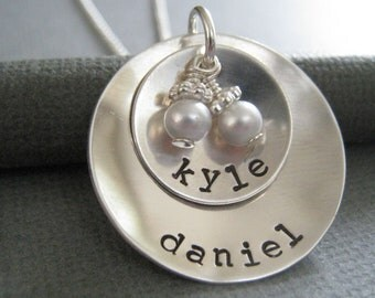 Custom Hand Stamped Jewelry - Personalized Sterling Silver Mommy Necklace - Cupped Discs with Swarovski Pearls