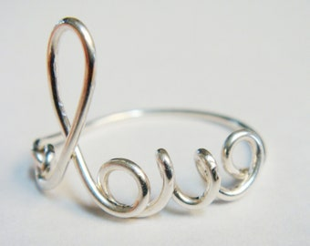 Solid White Gold Love Word Ring   14K Solid White Gold Ring   Love Ring   Wire Wrapped Ring   Wire Word Ring