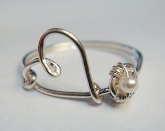 Heart Ring   Pearl Ring   Heart Stud Earrings   Heart Post Earrings   Mother's Day Jewelry Set