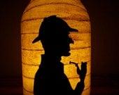 New Grungy Primitive Halloween Sherlock Holmes Silhouette Lantern Candle Holder Light Luminary Decor Decoration Table Mantel Porch Mystery