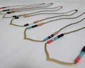 Southwestern Wishbone Beaded Brass Pendant Necklace