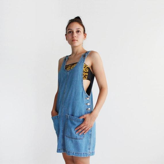90s Denim overall dress - jumper dress - adjustable straps - light blue - fits small and medium