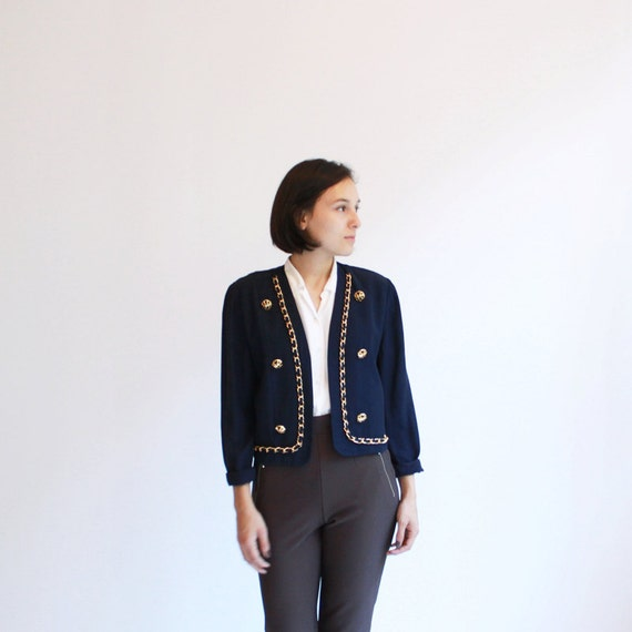 Navy cropped blazer with gold chain trim