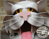 Birdhouse - Dark Tabby Cat Handmade Fully-Assembled Wood