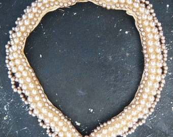 Vintage 1950s Pearl Collar - holiday bling - mid century