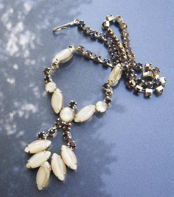 Vintage Autumn rhinestone necklace - cream and brown- SALE