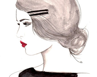 Print from original watercolor and pen fashion illustration by Jessica Durrant titled, The Girl Who Loved Vintage