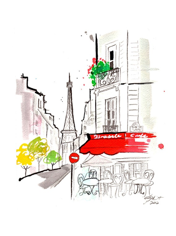 Original watercolor Parisian Cafe gestural painting by Jessica Durrant titled, Hint of a Parisian Cafe