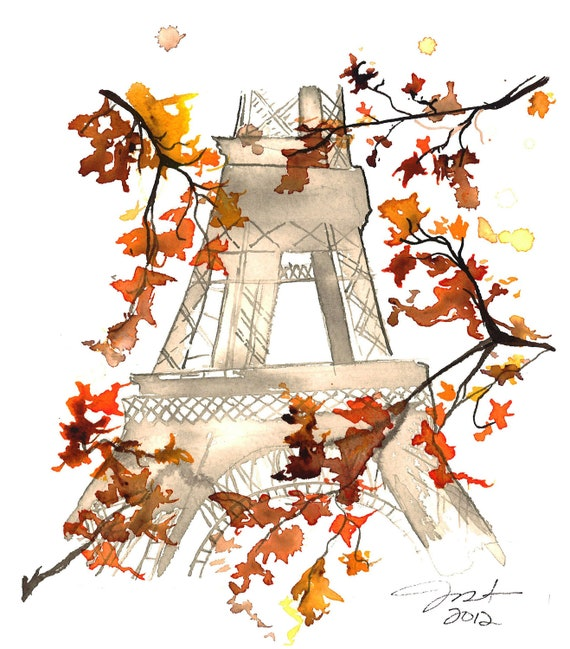 Print from original watercolor titled Paris in the Fall, by Jessica Durrant