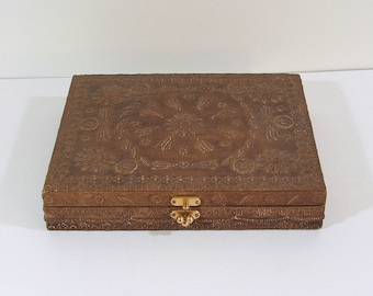 Vintage Sewing Box, Handmade Folk Art
